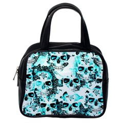 Cloudy Skulls White Aqua Classic Handbags (one Side) by MoreColorsinLife