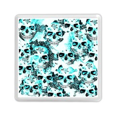 Cloudy Skulls White Aqua Memory Card Reader (square)  by MoreColorsinLife