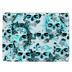 Cloudy Skulls White Aqua Cosmetic Bag (xxl)  by MoreColorsinLife