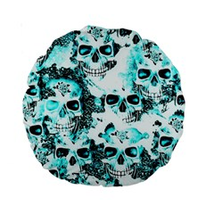 Cloudy Skulls White Aqua Standard 15  Premium Round Cushions by MoreColorsinLife