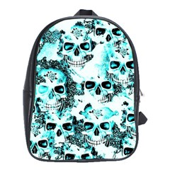 Cloudy Skulls White Aqua School Bags (xl)  by MoreColorsinLife