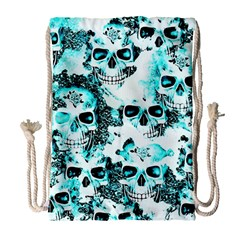 Cloudy Skulls White Aqua Drawstring Bag (large) by MoreColorsinLife