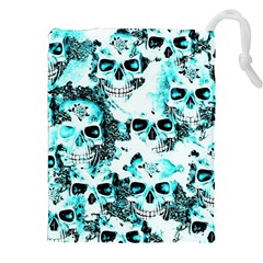 Cloudy Skulls White Aqua Drawstring Pouches (xxl) by MoreColorsinLife