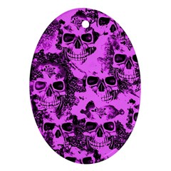Cloudy Skulls Pink Oval Ornament (two Sides) by MoreColorsinLife