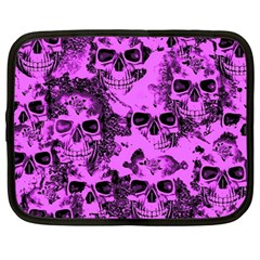 Cloudy Skulls Pink Netbook Case (large) by MoreColorsinLife