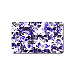 Cloudy Skulls White Blue Magnet (name Card) by MoreColorsinLife