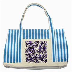 Cloudy Skulls White Blue Striped Blue Tote Bag by MoreColorsinLife