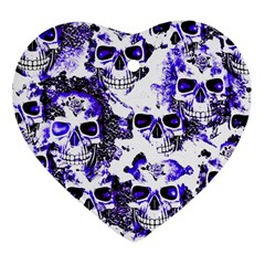 Cloudy Skulls White Blue Heart Ornament (two Sides) by MoreColorsinLife
