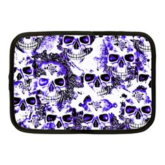 Cloudy Skulls White Blue Netbook Case (medium)  by MoreColorsinLife