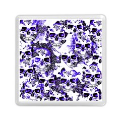 Cloudy Skulls White Blue Memory Card Reader (square)  by MoreColorsinLife