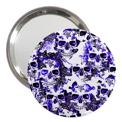 Cloudy Skulls White Blue 3  Handbag Mirrors by MoreColorsinLife