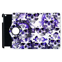 Cloudy Skulls White Blue Apple Ipad 3/4 Flip 360 Case by MoreColorsinLife