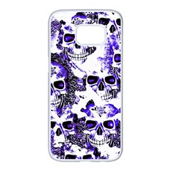 Cloudy Skulls White Blue Samsung Galaxy S7 Edge White Seamless Case by MoreColorsinLife