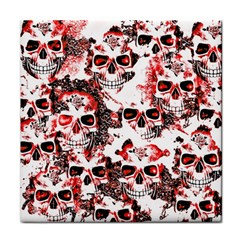 Cloudy Skulls White Red Tile Coasters by MoreColorsinLife
