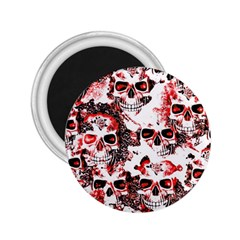 Cloudy Skulls White Red 2 25  Magnets