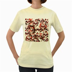 Cloudy Skulls White Red Women s Yellow T Shirt by MoreColorsinLife