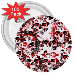 Cloudy Skulls White Red 3  Buttons (100 Pack)  by MoreColorsinLife
