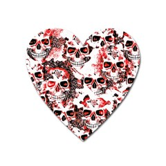 Cloudy Skulls White Red Heart Magnet by MoreColorsinLife