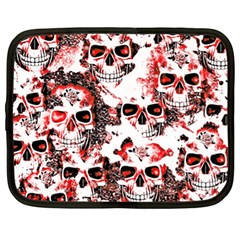 Cloudy Skulls White Red Netbook Case (xl)  by MoreColorsinLife