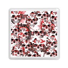 Cloudy Skulls White Red Memory Card Reader (square)  by MoreColorsinLife
