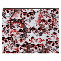 Cloudy Skulls White Red Cosmetic Bag (xxxl)  by MoreColorsinLife