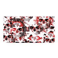 Cloudy Skulls White Red Satin Wrap by MoreColorsinLife