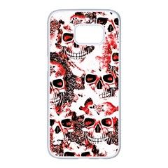 Cloudy Skulls White Red Samsung Galaxy S7 Edge White Seamless Case by MoreColorsinLife