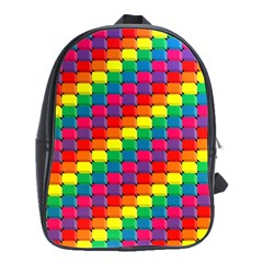 Colorful 3d Rectangles           School Bag (large) by LalyLauraFLM