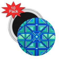 Grid Geometric Pattern Colorful 2 25  Magnets (10 Pack)  by Nexatart