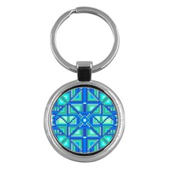 Grid Geometric Pattern Colorful Key Chains (round)  by Nexatart