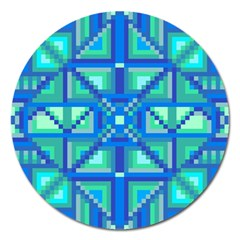 Grid Geometric Pattern Colorful Magnet 5  (round) by Nexatart