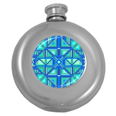 Grid Geometric Pattern Colorful Round Hip Flask (5 Oz) by Nexatart