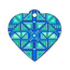 Grid Geometric Pattern Colorful Dog Tag Heart (one Side) by Nexatart