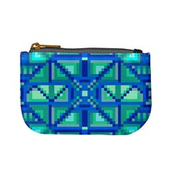 Grid Geometric Pattern Colorful Mini Coin Purses by Nexatart
