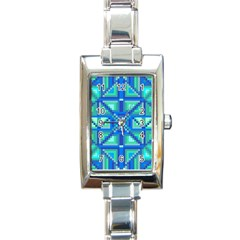 Grid Geometric Pattern Colorful Rectangle Italian Charm Watch