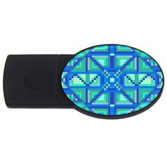 Grid Geometric Pattern Colorful Usb Flash Drive Oval (4 Gb) by Nexatart