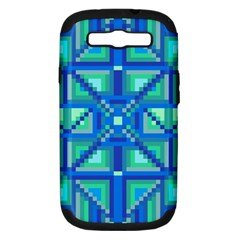 Grid Geometric Pattern Colorful Samsung Galaxy S Iii Hardshell Case (pc+silicone)