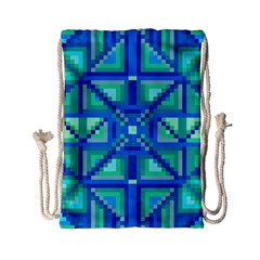 Grid Geometric Pattern Colorful Drawstring Bag (small) by Nexatart