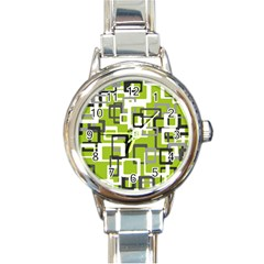 Pattern Abstract Form Four Corner Round Italian Charm Watch by Nexatart