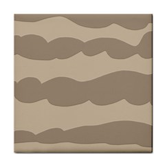 Pattern Wave Beige Brown Tile Coasters by Nexatart