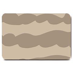 Pattern Wave Beige Brown Large Doormat  by Nexatart
