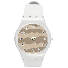 Pattern Wave Beige Brown Round Plastic Sport Watch (m) by Nexatart