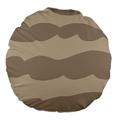 Pattern Wave Beige Brown Large 18  Premium Round Cushions