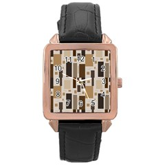 Pattern Wallpaper Patterns Abstract Rose Gold Leather Watch  by Nexatart