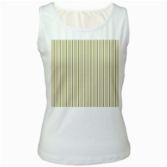 Pattern Background Green Lines Women s White Tank Top