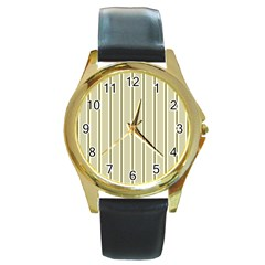 Pattern Background Green Lines Round Gold Metal Watch