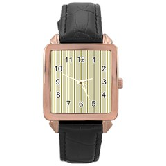 Pattern Background Green Lines Rose Gold Leather Watch