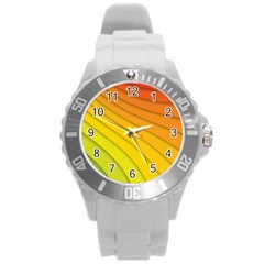 Abstract Pattern Lines Wave Round Plastic Sport Watch (l) by Nexatart