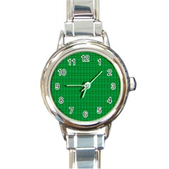 Pattern Green Background Lines Round Italian Charm Watch