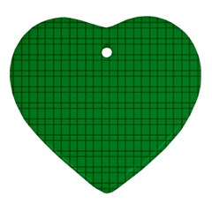 Pattern Green Background Lines Ornament (Heart)
